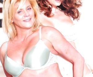 Older lesbians Ginger Lynn & Mia Presley peel off each others lingerie