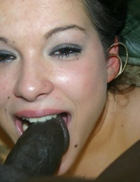 Dark haired girl Shayna Knight has a big black dick shoved down her throat