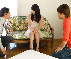 Innocent Japanese teen Kohashi Saki gets sandwiched in her first MMF threesome