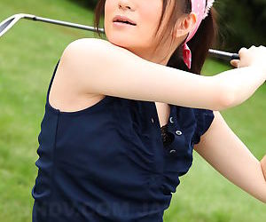 Sweet sports girl Michiru Tsukino practices her golf swing nude on the links