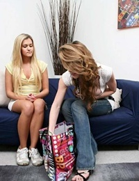 Blonde girl is convinced into to trying lesbian sex by gf with bag of sex toys