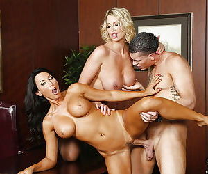 Two hot Latins Leigh Darby and Lezley Zen and their horny boss