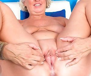 Classy granny Jeannie Lou sports a creampie after fucking a black man