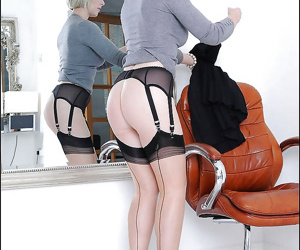 Filthy mature blonde in stockings uncovering her big tits and hot ass