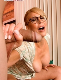 Students bad mood dries up when a buxom teacher gives her holes to him