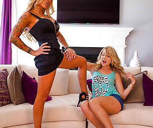 Blonde lesbian MILF and cute blonde teen strip naked and spread vaginas