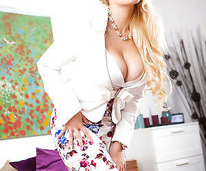 Blonde Euro mom Angel Wicky unveiling knockers in flesh colored stockings