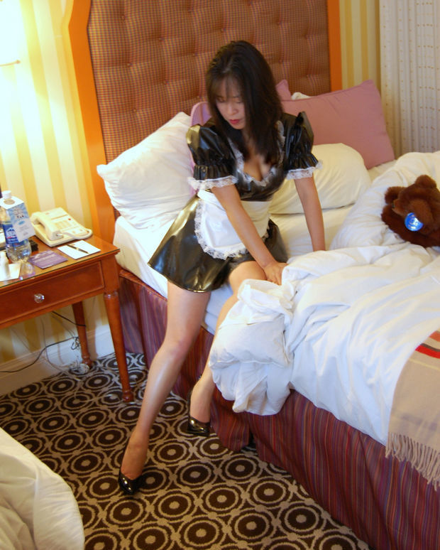 French Maid costume on sweet asian lady