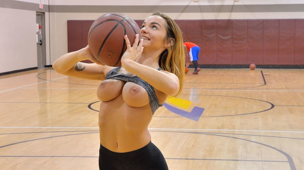 FTV Charlotte Flashing Her Big Tits at the Gym's Basketball Court