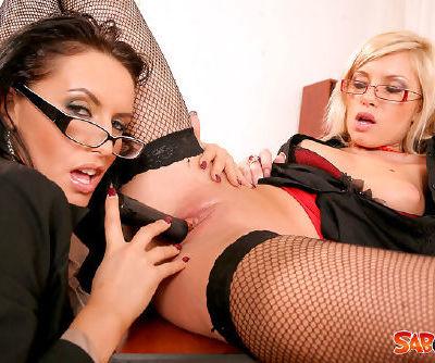 Wild office babes in a nasty masturbation scene together