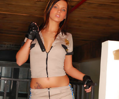 Innocent and sexy solo teen with black gloves is here to show her natural boobies