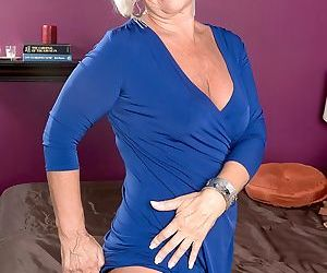 Granny in stockings Jeannie Lou sucks him off before he penetrates her hard