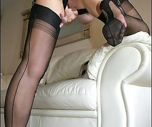 Horny fatty in stockings gets off masturbating and gives a great blowjob