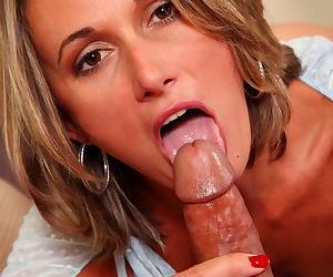 British female Misty Law wipes jizz from her chin after hard fuck