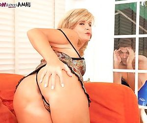 Older blonde divorcee Crystal Jewels seduces the pool boy in lingerie ensemble