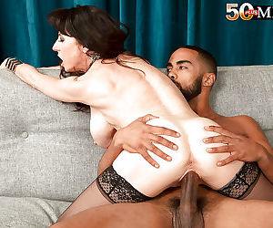 Buxom over 50 mature milf karen kougar giving big cock interracial blowjob - part 1169
