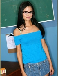 Skinny college girl in glasses Marissa Mendoza stripping from lingerie