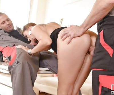 Euro chick Ani Blackfox giving oral sex before taking anal in MMF threesome