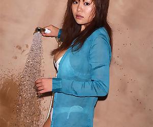 Sexy asian babe with big tits Yoko Matsugane taking shower in bikini