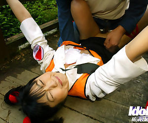 Submissive asian babe gets bound and roughly fucked outdoor - part 2