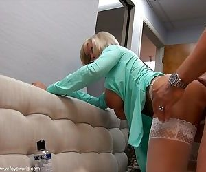 Top-heavy mature vixen gets fucked and milks a boner for cum on her face