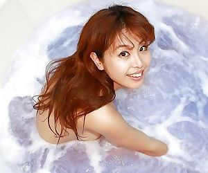 Redhead asian hottie Yuriko Hiratsuka taking bath and playing with herself