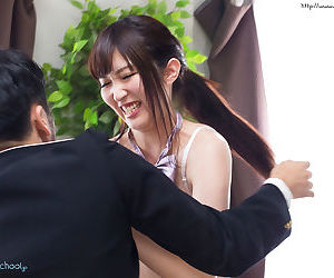 Japanese schoolgirl takes off her uniform and has sex with her stepfather