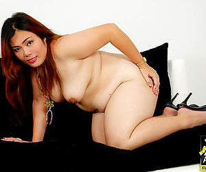 Chubby thai girl pla plays with her belly fat - part 4220