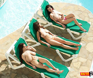 3 big boobed females go topless while soaking up some rays on lounge chairs - part 122