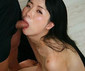 Cute Japanese girl with small boobs bound on her knees for cock sucking