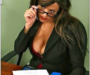 Sexy brunette teacher with nice tits gets stuffed by her students big cock - part 2754