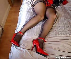 All natural milf daniella english in red gloves and stockings - part 16
