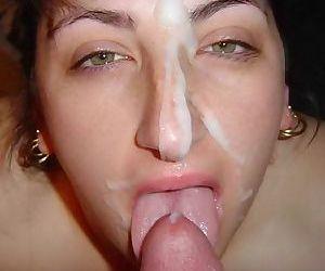 Amateur milf facials in home porn pics - part 10