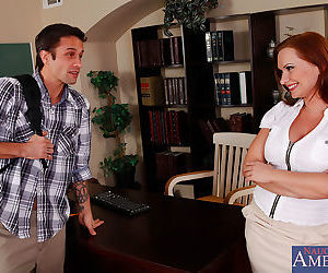 Busty red head teacher has rough anal sex with a student - part 6