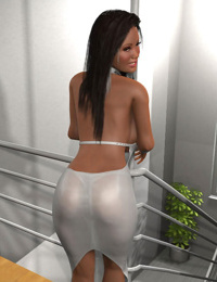 Slutty 3d brunette with massive hooters posing on a stairs - part 408