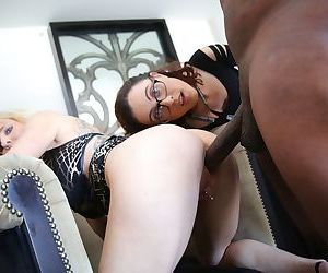 Nerdy brunette girl and her blonde mother take on a big black dick