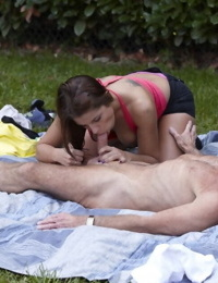 Nice teen girl does oral and anal sex with a really old man in the lawn
