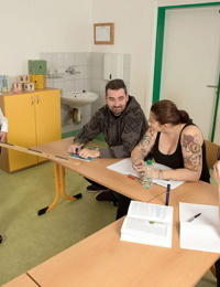 Nerdy schoolteacher Vanessa Y lets down her hair as she strips in classroom