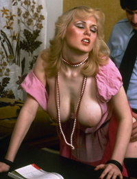 Vintage secretary with very big tits gets doggystyle fucking in the office