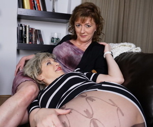 Mature lesbian women remove clothing for hot pussy licking & nipple sucking