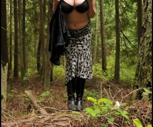 Mature lady Tasty Trixie hikes up her skirt for a quick piss in the woods