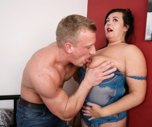 Fat UK housewife cheats on her hubby with another man in lingerie and nylons