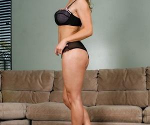 Mature 30 plus Tanya Tate models enhanced big tits & aging pussy on the sofa