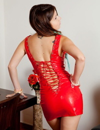 Emily 18 turns up the heat in her tight red latex dress in the picture gallery. - part 4692