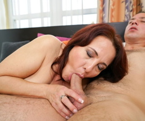 Fatty mature Red Mary gives a blowjob- spreads for ass licking & gets a facial