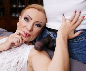 Sexy older redhead takes her young lovers BBC up her filthy asshole