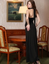 Glamour girl bares her firm tits as she slips off her black evening dress