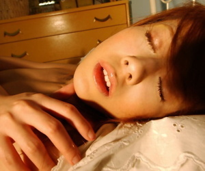 Adorable Japanese teen Hime Kamiya shows her full bush before falling asleep