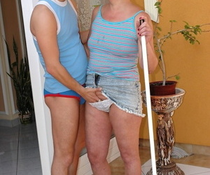Naughty granny Illy gives immense pleasure to a young stud until he cums
