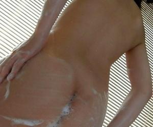 Asian hottie Hinako Muroya taking bath and exposing her svelte curves